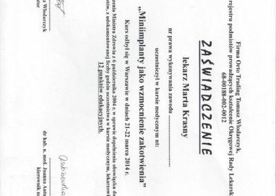 Krasny Marta certyfikat