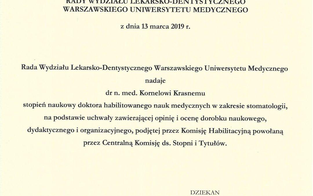 Nasz lekarz Kornel Krasny uzyskał tytuł naukowy doktora habilitowanego nauk medycznych