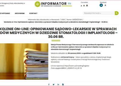 ORA Opiniowanie biegły sądowy implantologia Kornel Krasny
